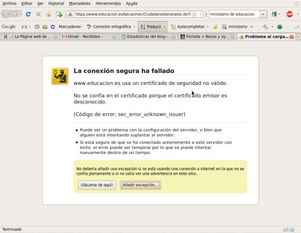 Pantallazo-Problema al cargar la página - Mozilla Firefox