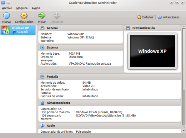 VirtualBox main menu