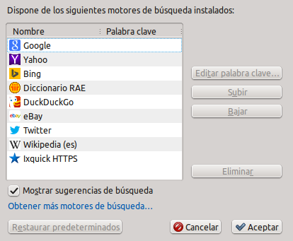 Motores de búsqueda Firefox